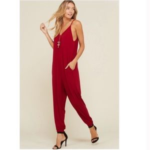 Pants - Sexy Red Jogger Jumpsuit Size Medium